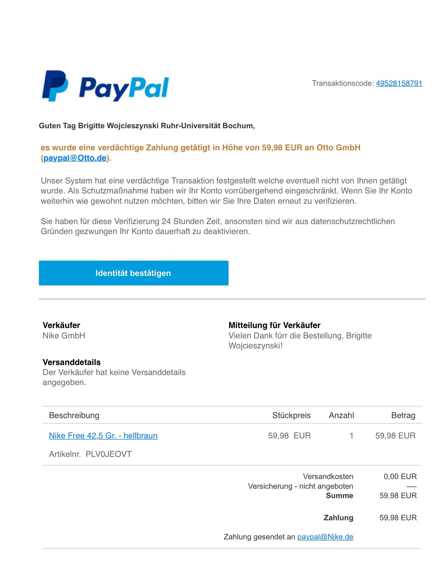 E-Mail-Betrug